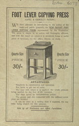 Advert for the Foot Lever Copying Press 6073